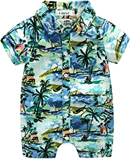 Newborn Baby Boys Short Sleeve Onesies Summer Printing Button-Down Polyester Casual Hawaiian Shirt Romper Outfits