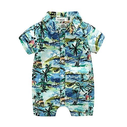 30235e900 MHSH Newborn Baby Boys Short Sleeve Onesies Summer Printing Button-Down  Polyester Casual Hawaiian Shirt