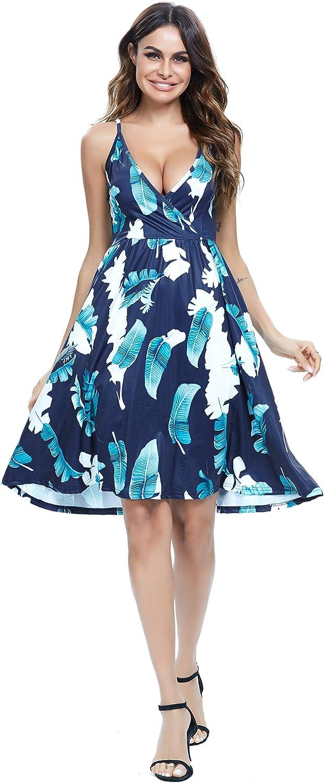 CASURESS Women's Dress V Neck Floral Sundress Spaghetti Strap Summer Casual Swing Dress with Pocket