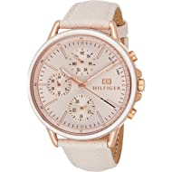 Women's Casual Sport Stainless Steel Quartz Watch with Leather Calfskin Strap, Pink, 17 (Model:...