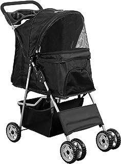 VIVO Black 4 Wheel Pet Stroller for Cat, Dog and More, Foldable Carrier Strolling Cart..