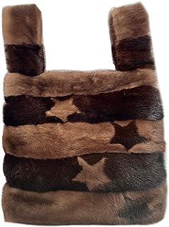 Borsa Shopper Visone Marrone bicolor con stelle intarsiate - 706