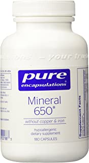 Pure Encapsulations - Mineral 650 Without Copper & Iron - Hypoallergenic Combination of Balanced Chelated-Minerals - 180 Capsules