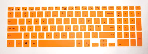 BingoBuy US layout Keyboard Protector Skin Cover for 15.6'' Dell Inspiron 15-3565 15-7559 15-7588 15-3552 15-5555 15-7567 15-7577 15-5570 17-5770 17-5755 17-5759 with Card Case (orange)