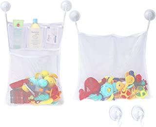 Zooawa [2 Pack] Bath Toy Organizer Mesh + 6 Strong Suction Cup Hook, Bathroom Multi-use Storage Net Bag 4 Pockets + 1 Pocket for Kids, Toddlers and Adults, White