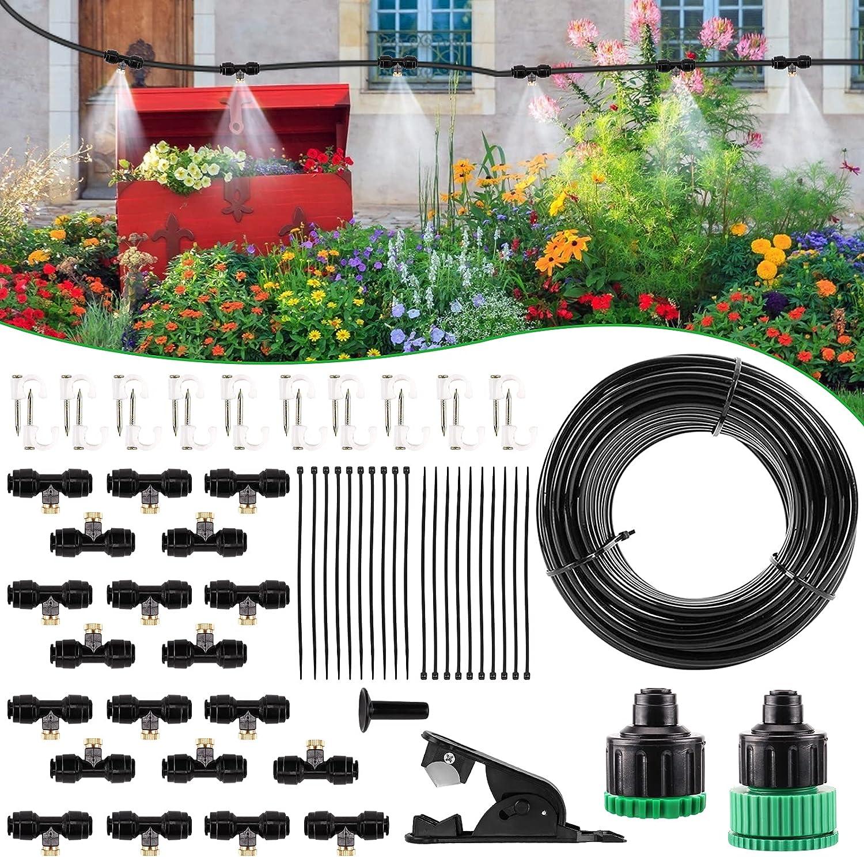 CARER SPARK Sistema de Enfriamiento por Nebulización (20m) para Exteriores con Grifo (3/4'' y 1/2'') Sistema de Riego de Bricolaje Ajustable para Sombrillas de Jardín Ventilador Trampolín Patio