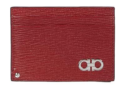 Salvatore Ferragamo Revival Gancio Credit Card Case 66A061 (Ferragamo Red/Black) Credit card Wallet
