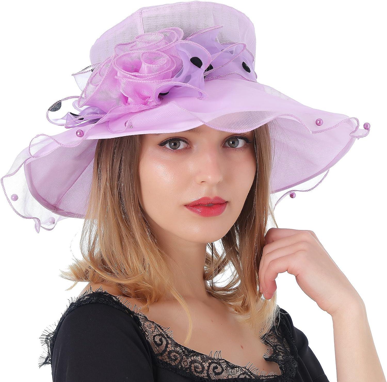 Dantiya Women's Kentucky Derby Wide Brim Flower Tea Party Bridal Dress Church Hat