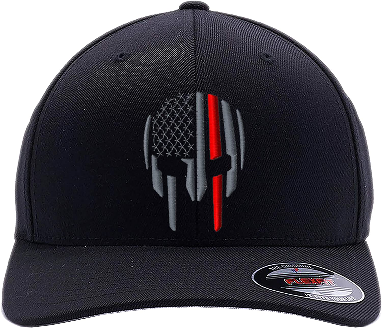 Thin RED LINE - Thin Blue LINE Spartan Helmet and Distressed Skull Flexfit Cap. Embroidered. 6277-6477 Flexfit