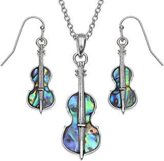 2a9d44bcc116 Juego de collar y pendientes para mujer con colgante de violín de Seashore  Jewellery con incrustaciones