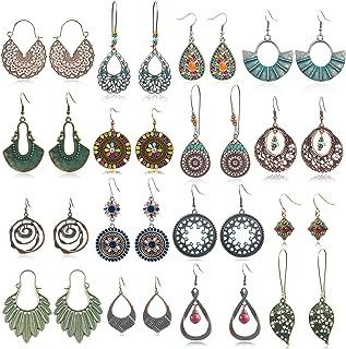 Boho Earrings for Women Girls, Funtopia Vintage Statement Drop Dangle Earrings Bohemian Long Pendant Earrings Retro Fine Earrings