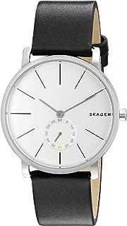 Skagen Denmark Men's Hagen Watch in Silvertone with Black Leather Strap
