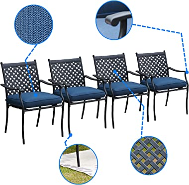 LOKATSE HOME 4 Piece Outdoor Patio Metal Wrought Iron Dining Chair Set with Arms and Seat Cushions - Blue