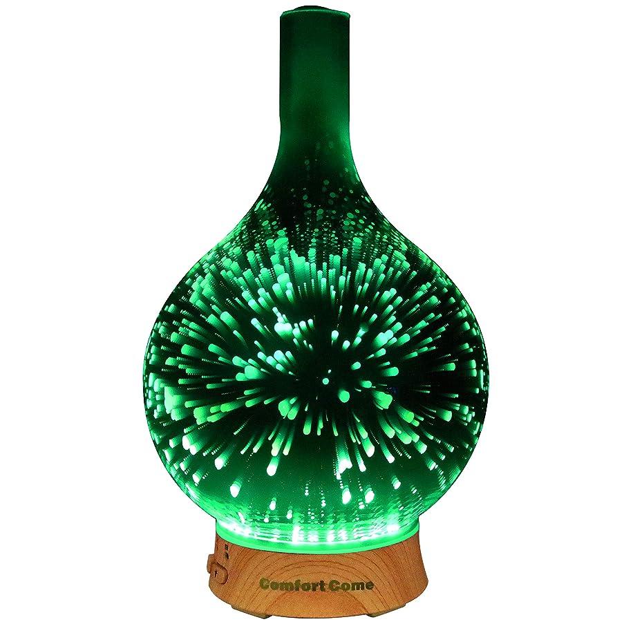 着替えるログ共同選択ComfortCome 100ml 3D Aromatherapy Essential Oil Diffuser, Cool Mist Humidifier with Changing Starburst LED lights, Lead Free Glass, Wood Base, Waterless Shut Off 141[並行輸入]