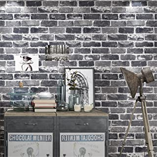 Akea Gray Brick Wallpaper Roll, 3D Effect Fake Faux Brick Blocks Vintage Home Decoration (Grey)