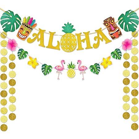 NAIWOXI Hawaiian Party Decorations Tropical Theme Summer Beach Party Decor Flamingo Confetti Aloha Party Decorations 31 pcs Luau Party Supplies Including ALOHA Banner Pineapple Balloons