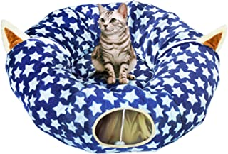 ARBUSB Cat Dog Tunnel Bed,Cat Tube and Tunnel with Central Mat,Collapsible Soft Mink Cashmere Cat Tube Condo Play Toy for Cats Kittens Kitty Small Puppy Length 98