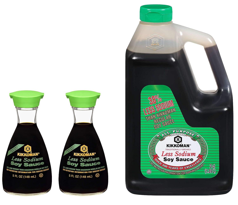 Kikkoman Lite Soy Sauce 35% OFF Less Sodium oz Two Inexpensive Dispensers fl 5 and