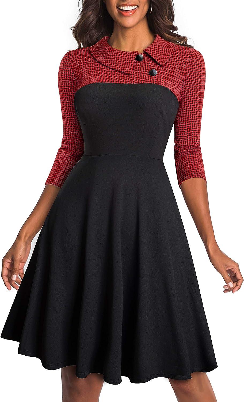 HOMEYEE Women's Lapel 3/4 Sleeve Church Aline Colorblock Work Dress A121