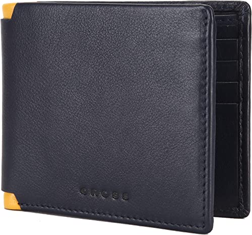 Navy Yellow Men s Wallet Stylish Genuine Leather Wallets for Men Latest Gents Purse with Card Holder Compartment AC2048798 3 70