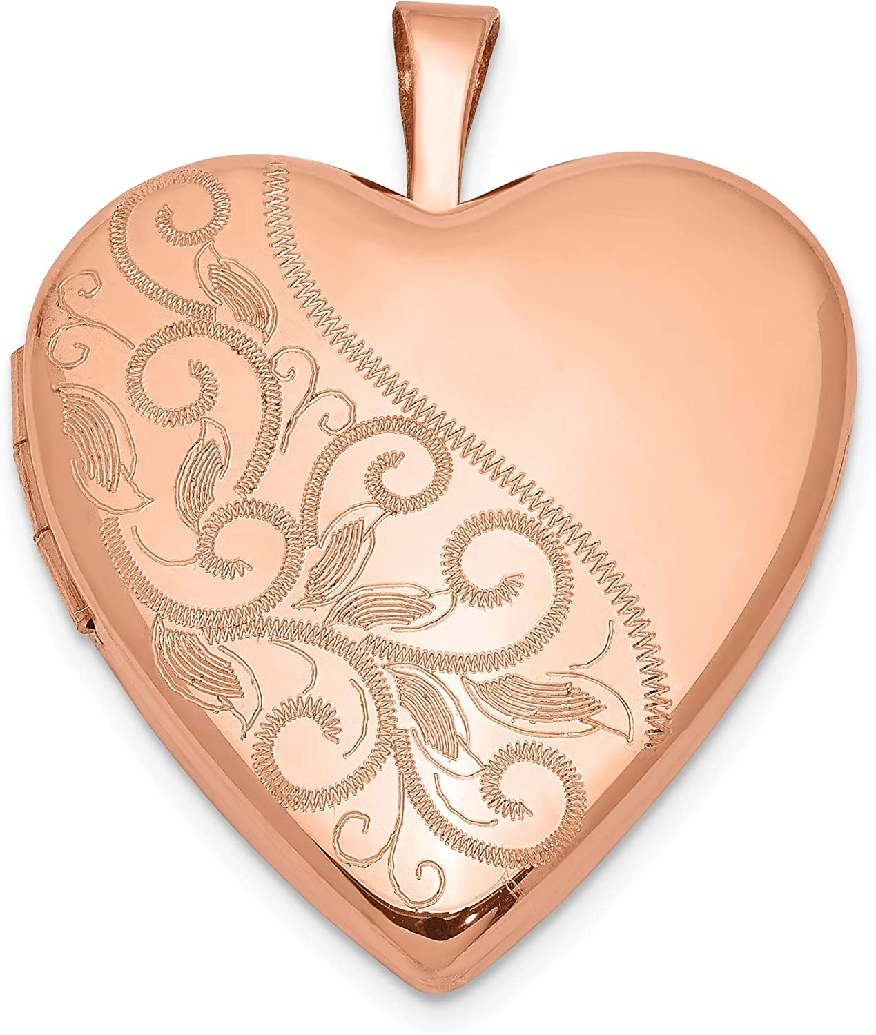 Ranking TOP1 Sterling Silver Rose 20mm Ranking TOP1 Locket Heart Polished Swirl