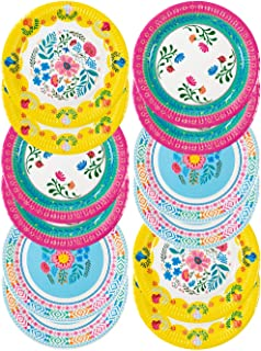 """Talking Tables Bohemain Décor Decorations Supplies Boho Floral Tea Party Plates Pack of 12, Dia 23cm, 9"""", Pink Blue Yellow"""