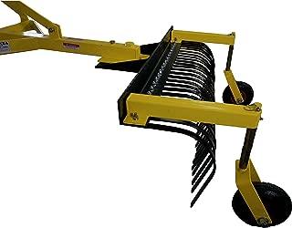 Titan Attachments 4' Landscape Rock Rake 3 Point Soil Gravel Lawn Tow Behind Tractor 4ft w/Wheels