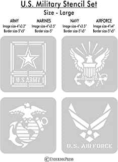 Stencils - United States Military set of 4, LARGE