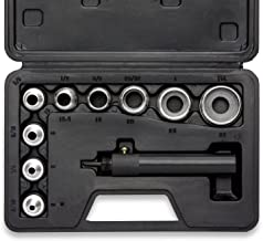 Neiko 02614A Interchangable Hollow Hole Punch Set with Handle, Heavy Duty with Handle Case, 10-Piece Large Set