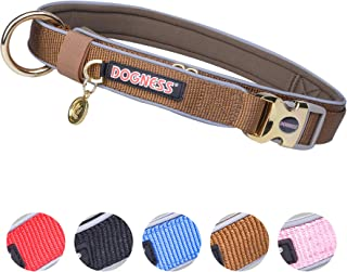 DOGNESS Classic Dog Collar, Comfort Soft Neoprene Padded Nylon, Ultra Safety Reflective Piping, 4 Sizes 5 Colors for Small Medium Large Dogs, Matching Leash Sold Separately