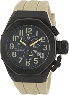 Swiss Legend Men's 10542-BB-01-CMA Trimix Diver Chronograph Black Dial Light Olive Green Silicone Watch