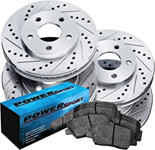 Fit Kia Spectra, Spectra5 Front Rear Drill Slot Brake Rotors+Ceramic Brake Pads