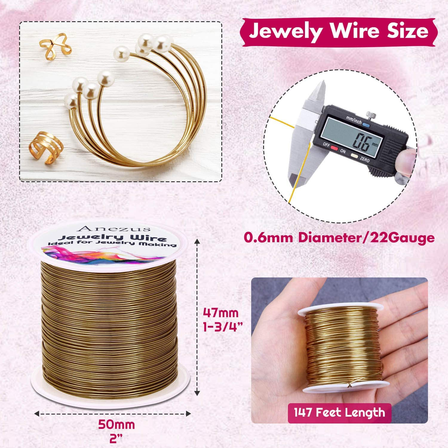 Copper Anezus Craft Wire Tarnish Resistant Copper Beading Wire for Jewelry Making Supplies and Crafting 22 Gauge Jewelry Wire