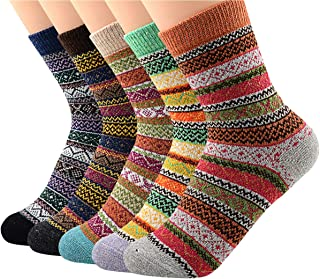 Women's Vintage Winter Soft Wool Warm Comfort Cozy Crew Socks 5 Pack