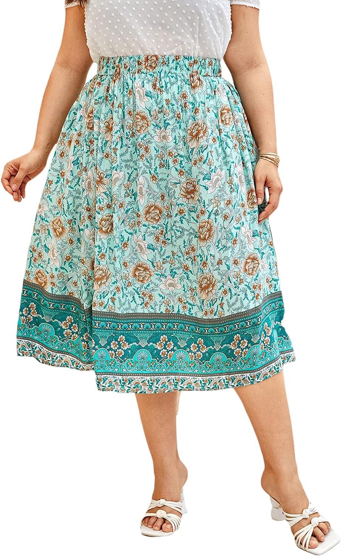 Milumia Women's Boho Plus Size Floral Print Midi Skirt Elastic Waist A Line Flowy Skirt