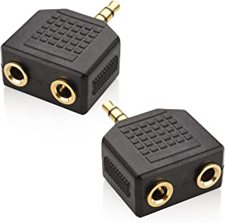 3.5mm Headphone Y Splitter (Pack of 2)| 1 Male to 2 Female Audio Jacks | Allows Two People to Listen to 1 Sound Source | P...