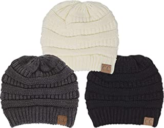 d3773de36b510 Funky Junque Solid Ribbed Beanie Slouchy Soft Stretch Cable Knit Warm Skull  Cap