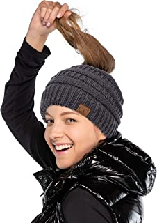 35e50a9d5613 C.C Soft Stretch Cable Knit Messy Bun Ponytail Beanie Winter Hat (MB-20A)