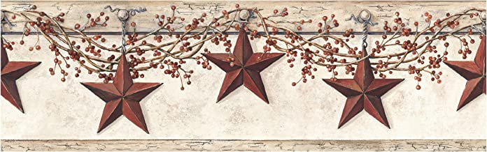 York Wallcoverings HK4664BDSMP Best of Country Hanging Star Wallpaper Memo Sample, 8-Inch x 10-Inch