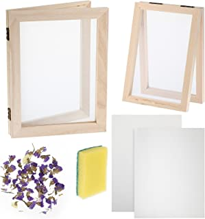 8 Pieces Paper Making Screen Kit Include 7.5 x 9.8 Inches Wooden Paper Making Frame Mould Papermaking Screen Printing Fram...