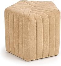 Gebor - Poef - Hocker - Stoffen Poef - Kruk Textiel - Zandkleur - Beige - Hexagon - Geometrisch - Minimalistisch Ontwerp -...