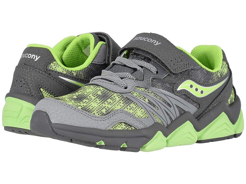 Saucony Kids Flash A/C (Little Kid) (Grey/Citron) Boys Shoes