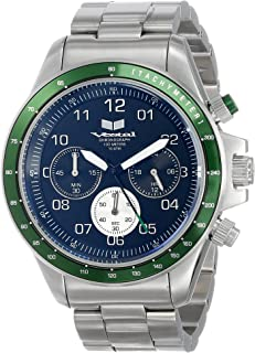 ساعة فيستل للرجال ZR-2 كرونوغراف ستانلس ستيل قياس واحد فضي/أخضر