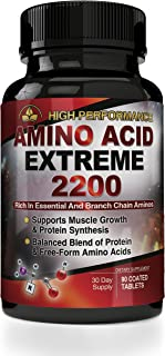 BCAA Amino Acid Extreme 2200 mg - High Performance Branch Chain Amino Acid Formula 90 Capsules - Muscle Building Post Workout Supplement - Includes Bonus Diet eBook