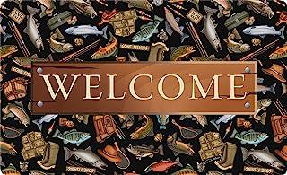 Toland Home Garden Angler A-lute Welcome 18 x 30 Inch Decorative Fish Floor Mat Fishing Sport Doormat