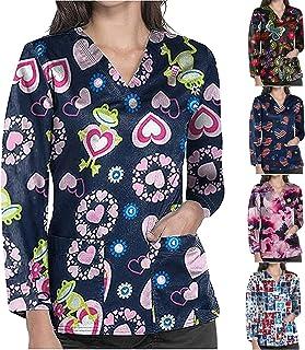 YOYHX Womens Long Sleeve V-Neck Tops Printing Workwear T-Shirt Scrub_Tops Working Uniform Tops