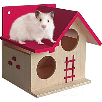 PetNest Wood House for Small Animals Hide House/Hammock for Hamster/Dwarf/Mice/Gerbil/Chinchilla/Hedgehog Cage Toy Chew Toy Hamster Hideout Toys Tomato Pink - DECO6