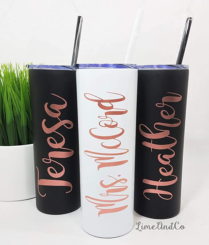 Personalized Stainless Steel Tumbler Bridesmaid Gift Personalized Water Bottle Employee Gift Bachelorette Party Cup Bachelorette Party Vinyl Decal Bridesmaid Proposal Water Bottle With Name