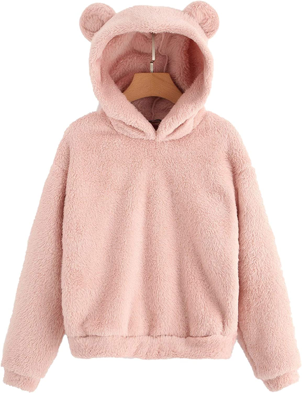 Free shipping anywhere in the nation Special price for a limited time SheIn Women's Casual Cute Teddy Long Pullover Bear Fleece Sleeve