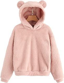SheIn Women's Casual Cute Teddy Bear Long Sleeve Fleece Pullover Hoodie Top